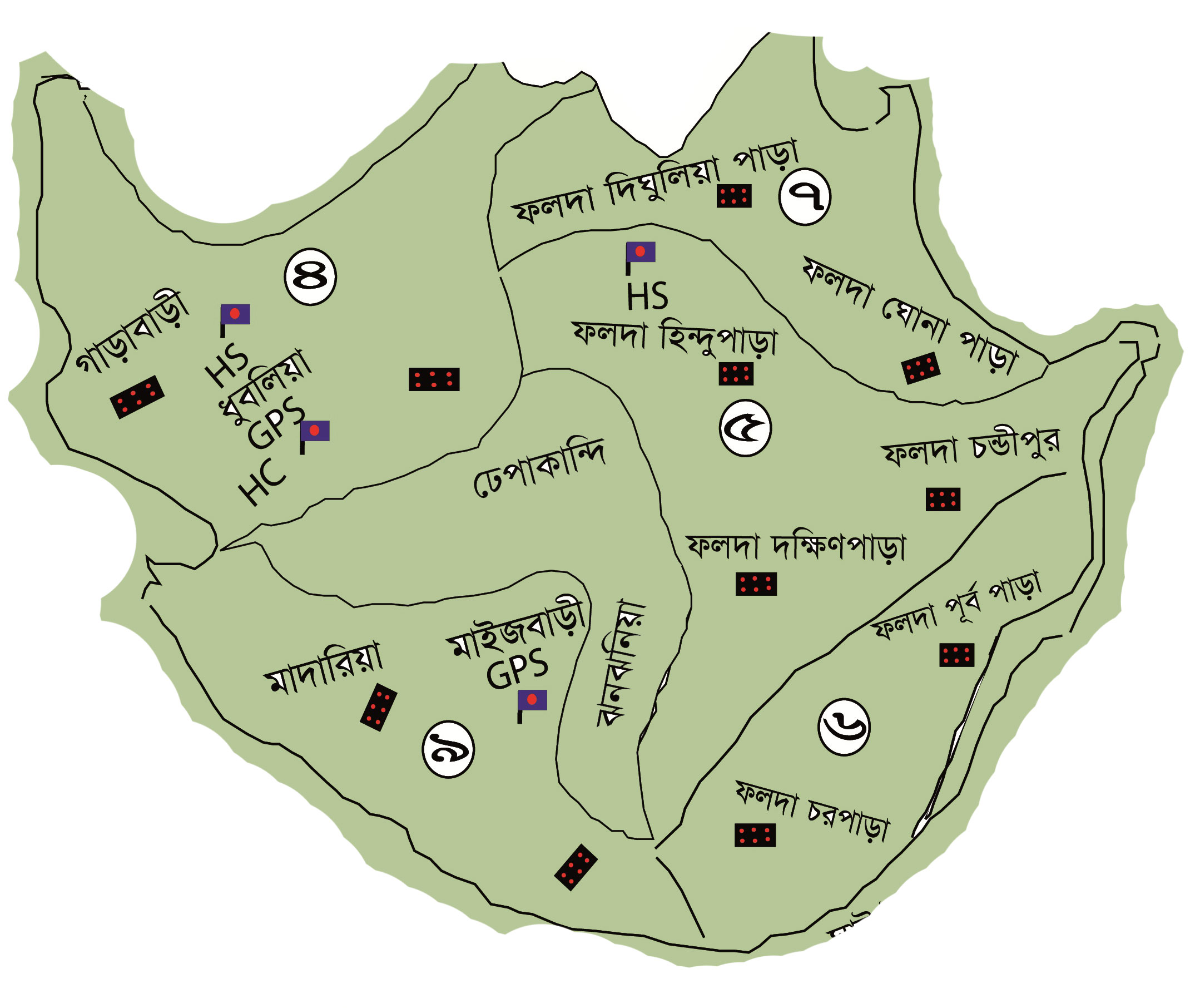 Falda Union Parishad - Tangail map